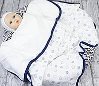 Плед лето для новорожденных Звездочка молочный-синий