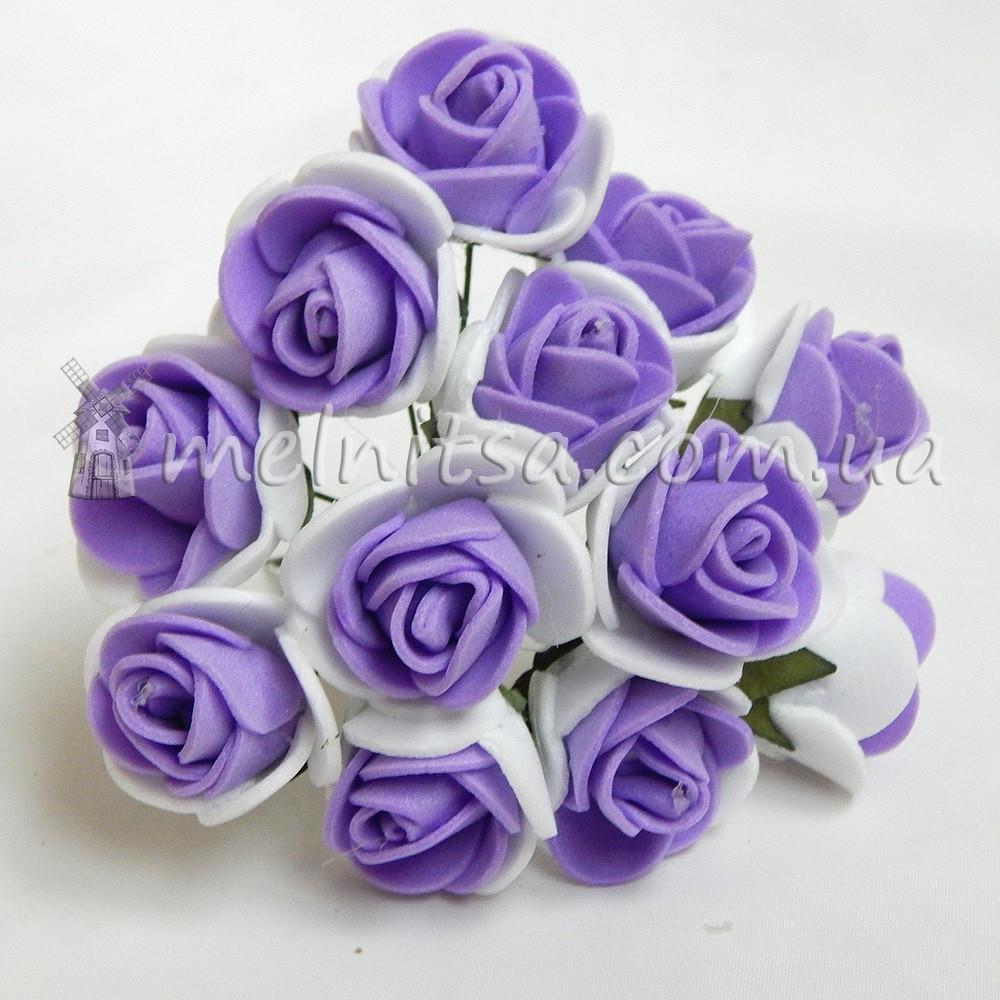 Розы из латекса, 1,5-2 см, белый+сиреневый