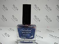 Лак для ногтей с блестинками Christian 175 синий