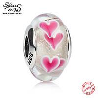 """Серебряная подвеска шарм Пандора (Pandora) """"Розовые сердца мурано"""" для браслета бусина"""