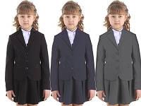 Жакет школьный для девочки черного, серого и синего цветов.