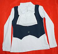 Обманка блузка гольфик для девочки 6-7-8-9-10-11-12-13 лет Жабо