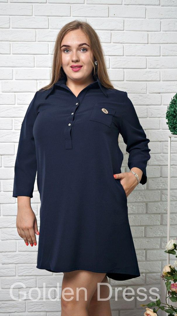 Стильное платье туника из легкой ткани на груди с пуговицами