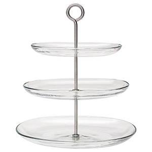 KVITTERA сервировочная подставка/3 тарелки, стекло, прозрачный, нержавеющ сталь