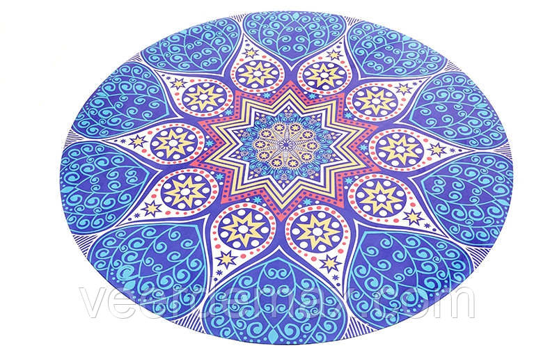 Коврик для йоги и фитнеса круглый Yoga mat 2-х слойнный замша-каучук 1 mm  ( d 1.50 cm *1mm)