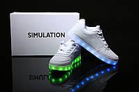 LED кроссовки Simulation Белые унисекс, 11 режимов подсветки, шнурок, размер 35-46
