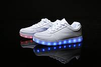 LED кроссовки Белые унисекс, 11 режимов подсветки, шнурок, размер 35-43