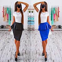 Модный красивый женский костюм с юбкой баской и кружевным топом