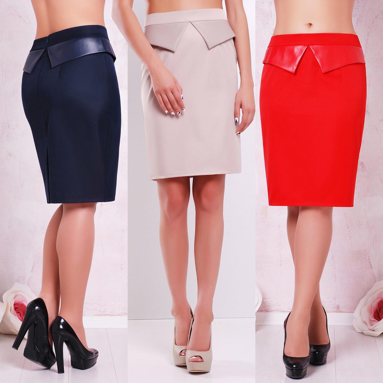 d1f09fef97c Купить Облегающая юбка с отлетной баской из экокожи по лучшей цене в ...