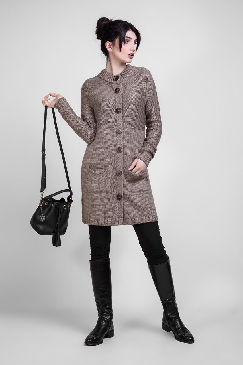 Удлиненный жакет-пальто из шерстяной пряжи цвета капучино