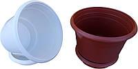 """Горшок для цветов пластиковый Ø 200 мм с подставкой 3,5 литра """"Юнипласт"""""""