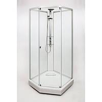 Модель 8-5 (1000x1000 мм),  профиль серебристый, художественное стекло Dandelion II/узорчатое стекло