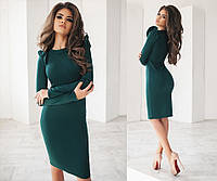 Женское платье-футляр с длинными рукавами, материал - французский трикотаж, цвет - темно-зеленый