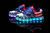 American Kids Step, Американский флаг светящиеся кроссовки LED (USB подзарядка), размер 32,33,34,35 (LK 1009)