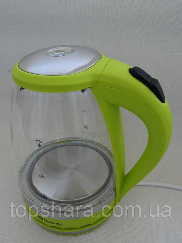 Электрочайник дисковый стеклянный Domotec DT-701 салатовый 1.8 л