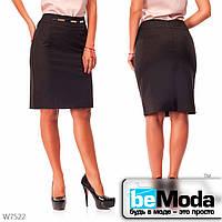 Стильная юбка женская  Black с блестящими вставками на талии черная