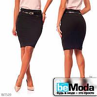 Деловая юбка женская Black с оригинальным пояском в комплекте черная