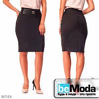 Стильная юбка женская Black с необычным поясом черная