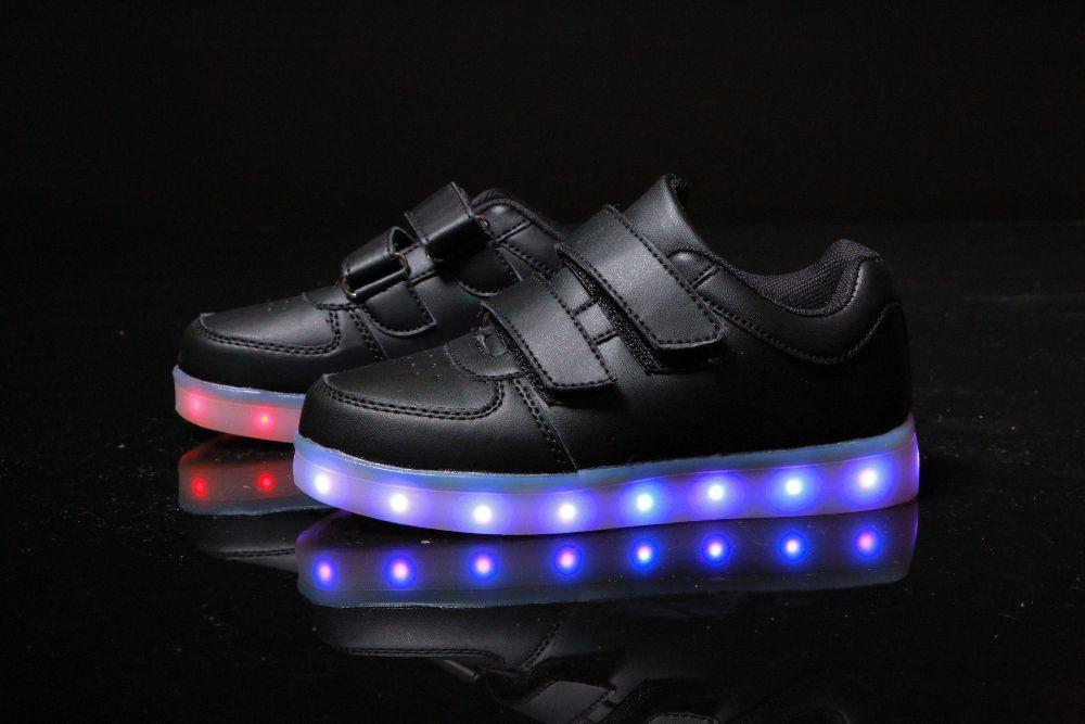 6f9985e7 Black Step Kids, Черные светящиеся кроссовки LED (USB подзарядка), размер  25-