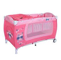 Манеж-кровать  DANNY 2 LAYERS ROCKER  pink kitty