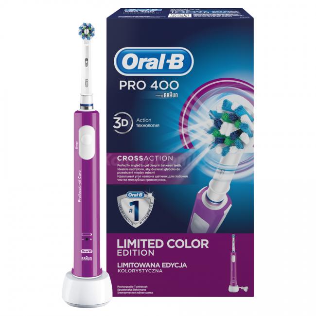 Зубна електрощітка Oral-B Pro 400 CrossAction Violet - Інтернет-магазин 3-7 6e3b4a630757c
