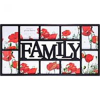 "Рамка для фото, коллаж ""Family"" на 10 фото размер 73-37-2 см"