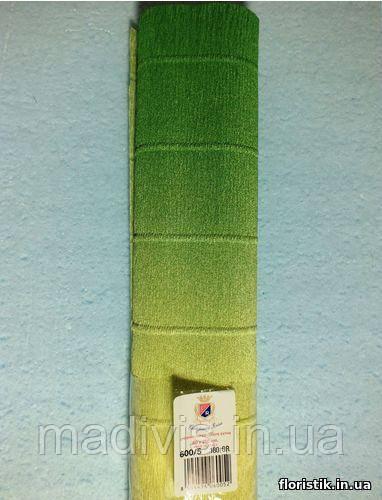 Бумага гофрированная с переходом, 600/5 зеленая с желтым