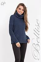 Женский теплый свитер крупной вязки