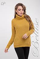 Вязанный женский свитер с вертикальным узором