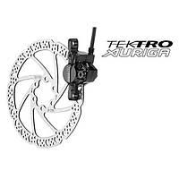 Дисковый тормоз передний Tektro Auriga-F-160 черный (тормоз, диск, 2 больших болта, 6 маленьких болтов)