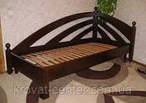 """Деревянная угловая кровать """"Радуга"""" (200*90), массив - ольха, покрытие - """"лесной орех"""" (№44)"""