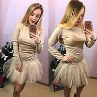 Трикотажное платье с фатином