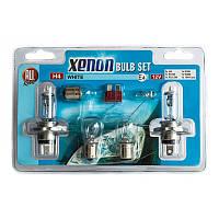 Набор автомобильных ламп H4, 12 В с эффектом XENON WHITE и предохранителей, фото 1