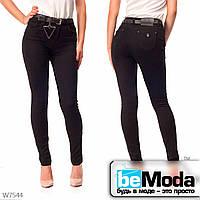 Стильные джинсы женские с ремнем Lady N классического кроя черные