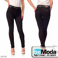 Привлекательные джинсы женские с ремнем Lady N классического кроя черные