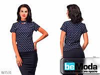 Деловая женская блуза Base Blue с короткими рукавами и украшением на шее синяя