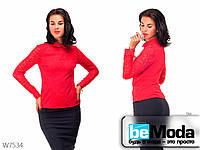 Элегантная блуза женская Base Red с гипюровыми вставками красная