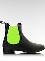Черно-зеленые женские резиновые ботинки PT27 38,36