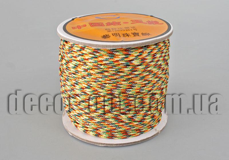 Шнурок для браслетов цветной с люрексом на катушке 1,5мм/45ярд