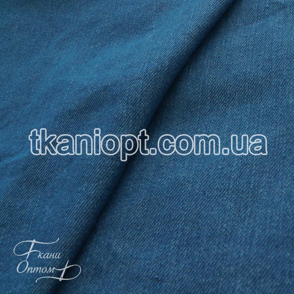 Ткань Джинсовая ткань стираный деним (синий)