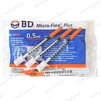 Шприц инсулиновый BD Microfine U-100 обьем 0,5мл игла 0.3* 8,0мм