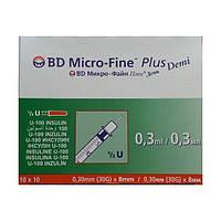 Шприц инсулиновый BD Microfine U-100 обьем 0,3мл игла 0.3* 8,0мм«Микро-Файн» Demi (Микрофайн Деми)