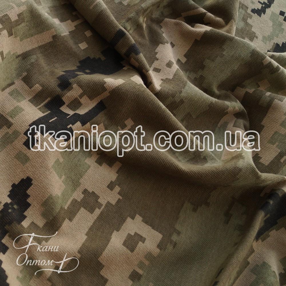 Ткань Кулир набивной в пачках камуфляж (Украинский пиксель ММ14)