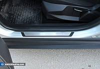 Mitsubishi Lancer X 2008+ гг. Накладки на пороги Flexill (4 шт, нерж) Exclusive