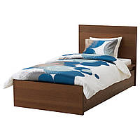 МАЛЬМ Каркас кровати, высокий, 2 емкости, коричневая морилка, шпон jesionowa, Leirsund