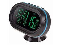 Цифрові автомобільні годинник - термометр - вольтметр з Led підсвічуванням  Зелений
