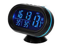 Цифрові автомобільні годинник - термометр - вольтметр з Led підсвічуванням  Синій