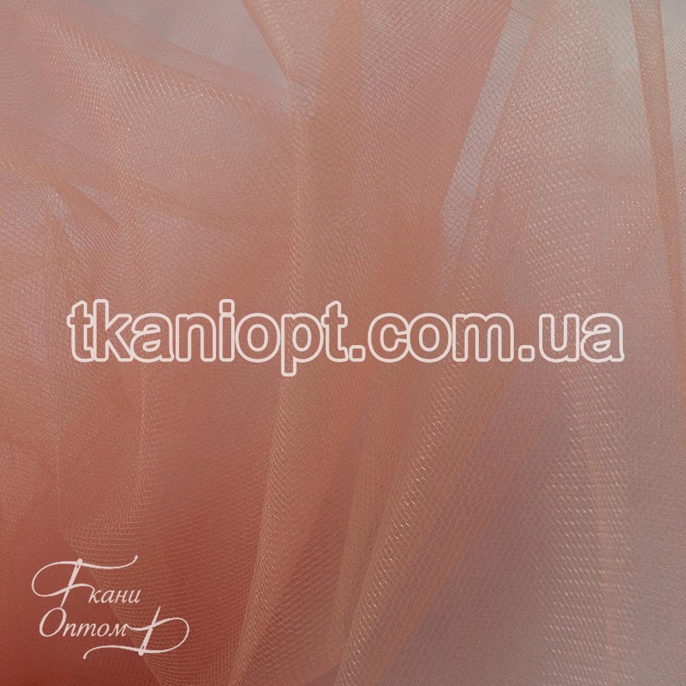 Ткань Фатин crystal трехметровый (персиковый)