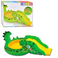 Надувной игровой центр 57132 бассейн с горкой Крокодил