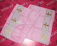 Крыжма детская для крещения розовая хлопок